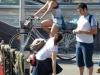 Итальянка в короткой юбке на велосипеде