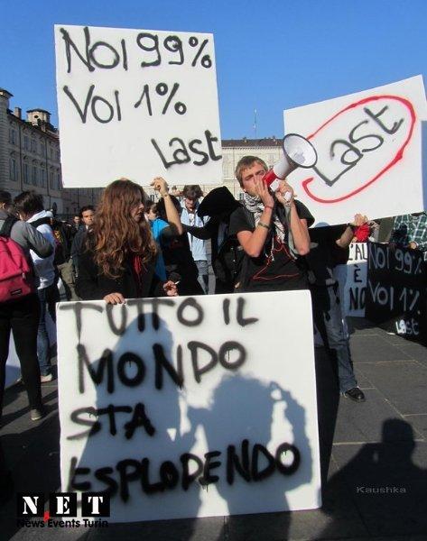 Протест итальянцев в Турине - мы не хотим платить за кризис!