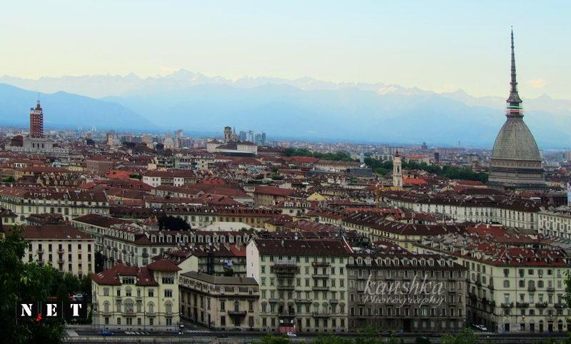 Панорама Турина с горы капуцинов в Турине Монте дей Каппуччини