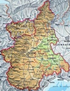 Карта региона Пьемонт Турин Италия