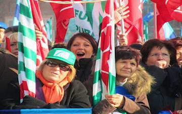 Итальянские коммунисты на площади Турина