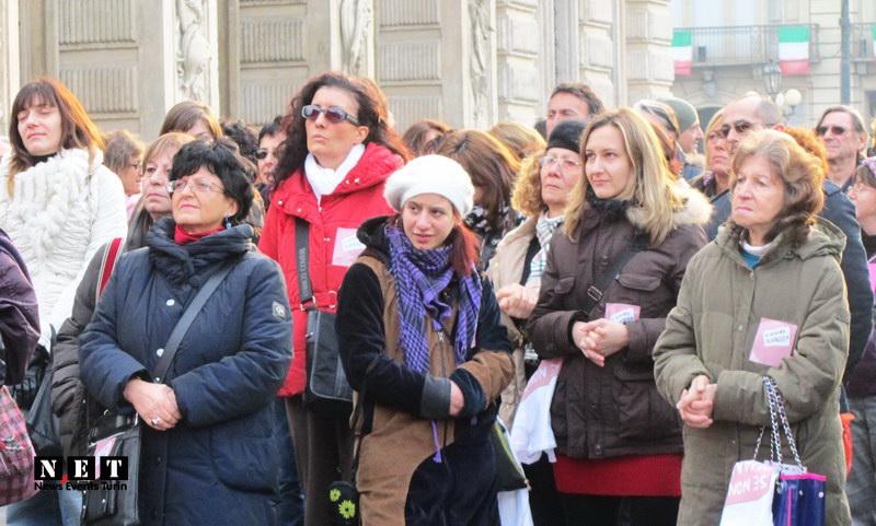 Итальянские феминистки на главной площади Турина