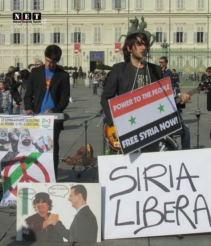 Манифестация сирийцев Италия Турин