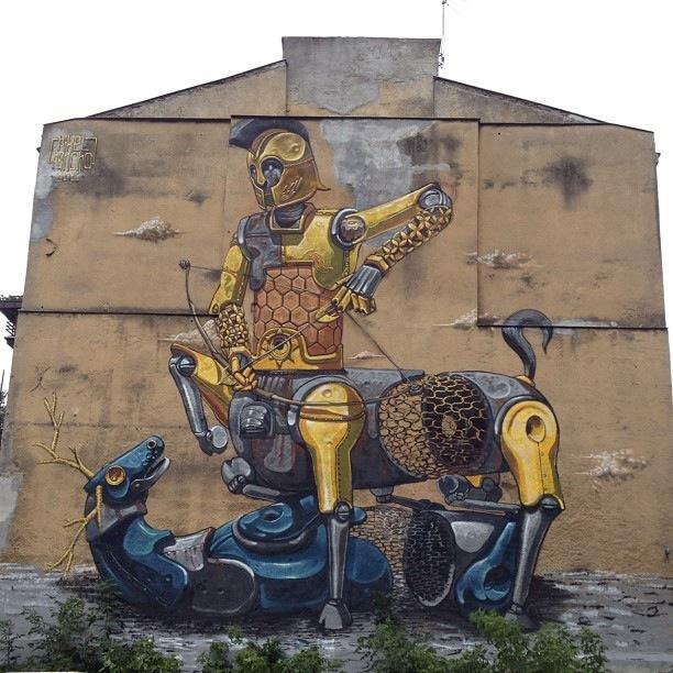 Искусство на стенах Пиксель Панчо Турин Арт граффити в Европе