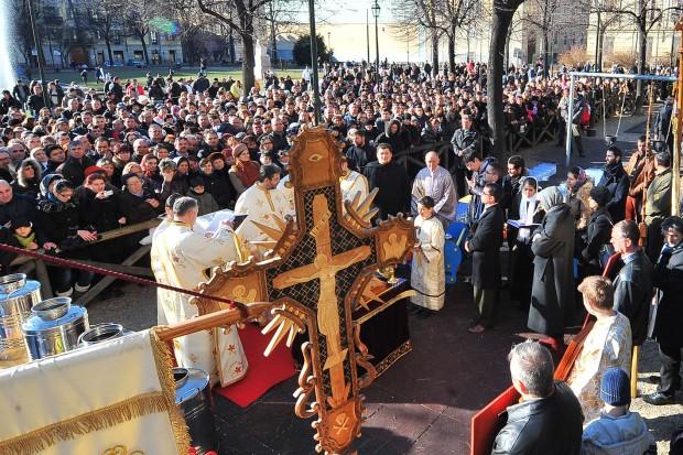 Православные христиане Турина на праздновании Рождества