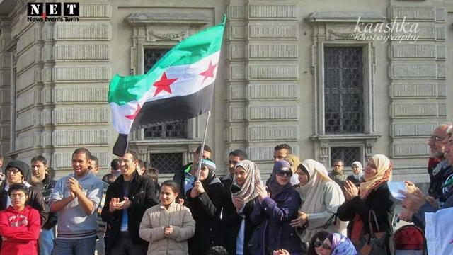 Турин манифестация в поддержку Сирии