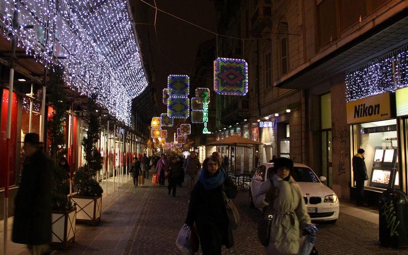 Улица Лагранже ночью Турин