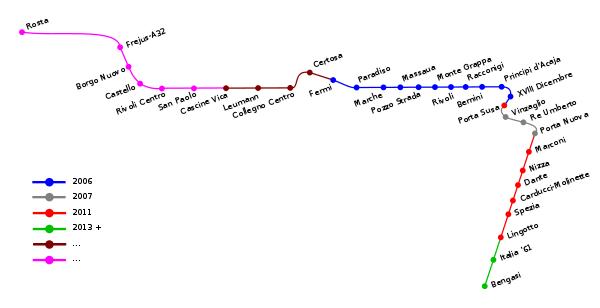 Схема метро Турин Италия