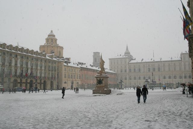 Дворцовая площадь Турина в снегу