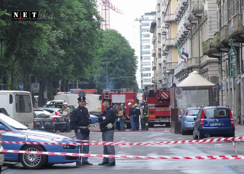 Полиция оцепила место пожара в Турине События Турин июнь 2012