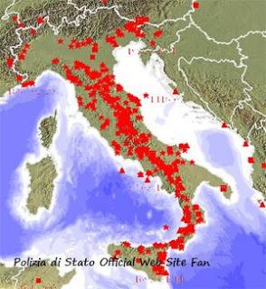 Карта прошедшего землетрясения в Италии