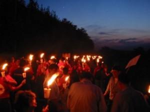 Факельное шествие по Турину Италия