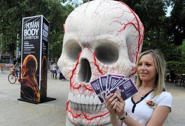 Огромный череп на выставке человеческого тела в Турине