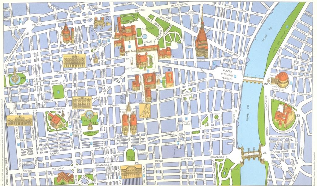 Турин на карте Италии основые достопримечательности Турина в центре города