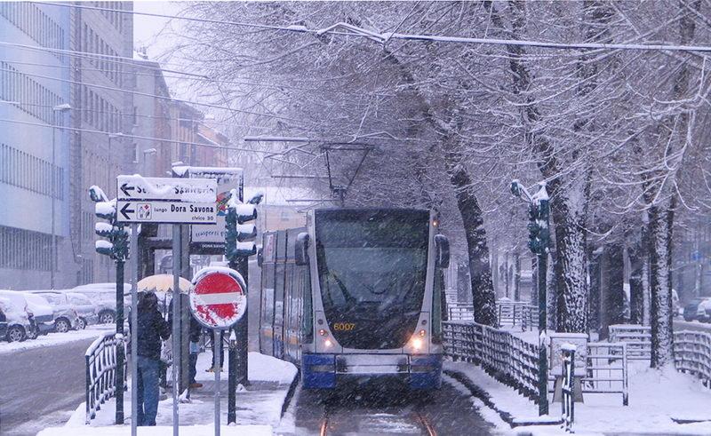 Снег в Турине Италия