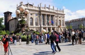 Роскошный сад на дворцовой площади в Турине
