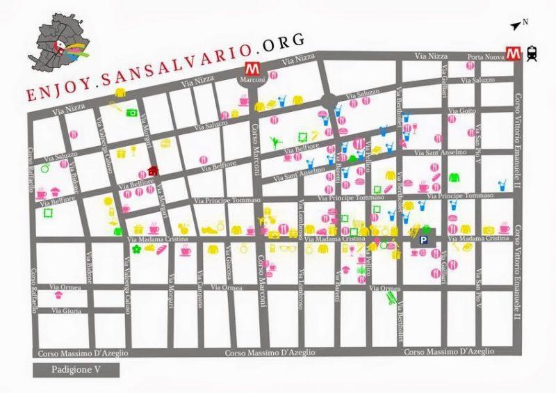 Карта района Сан Салварио Турин