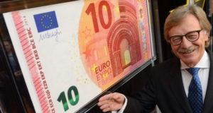 Европейский центральный банк представил свою новую банкноту в 10 евро