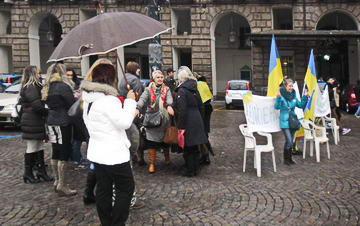 Украинская диаспора в Италии поддерживает евромайдан