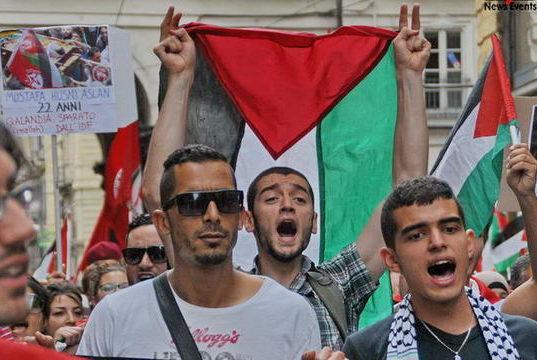 Манифестация палестинцев Турин Италия 2014