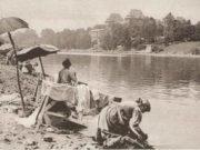 Пляж на реке По в Турине Выйти на Murazzi в купальниках