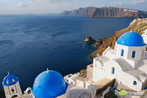 Остров Санторини в Греции. город Ия