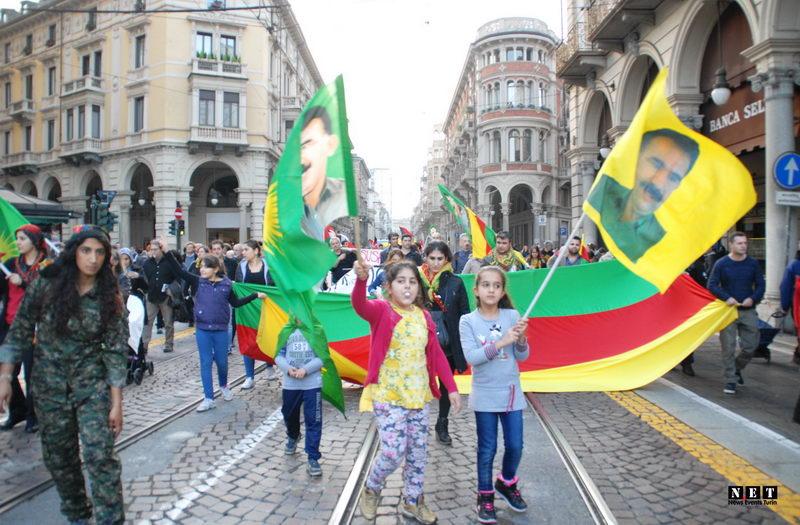Манифестация курдов в Италии Турин