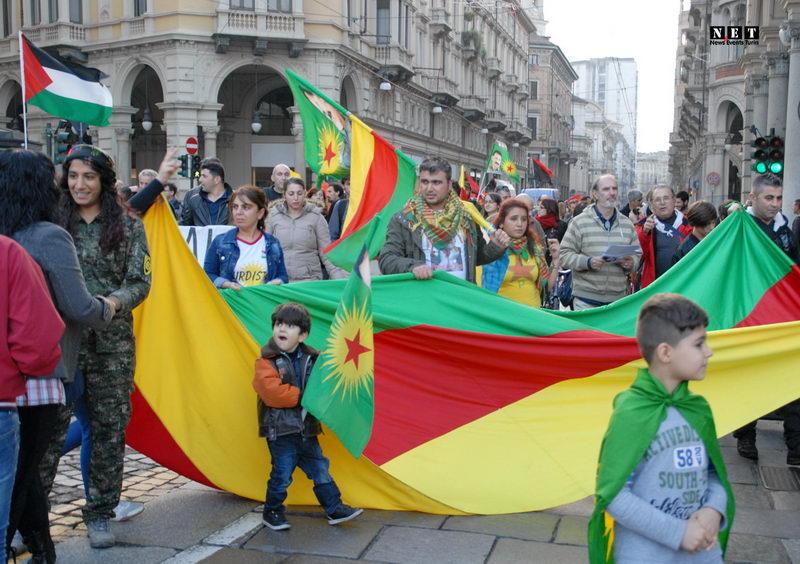 Манифестация курдов в Италии Турин Курдистан Kurdi Torino Italia