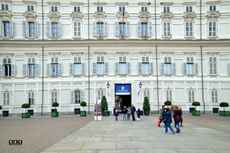 Фасад здания Королевский дворец в Турине