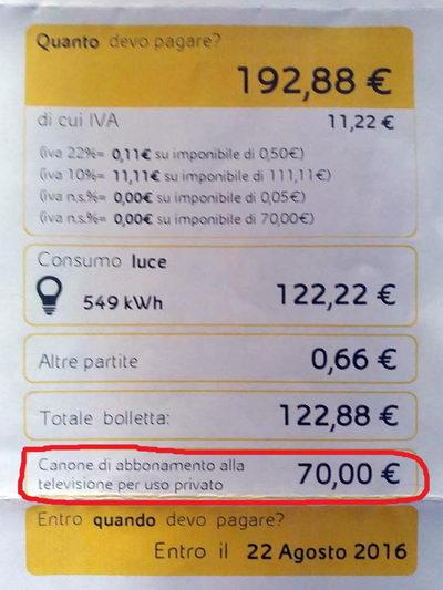абонентская плата за телевидение вместе с электричеством Италия Турин