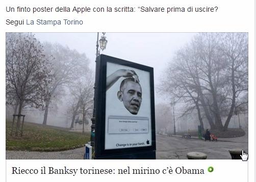 Голова Обамы на поддельной рекламе в Турине