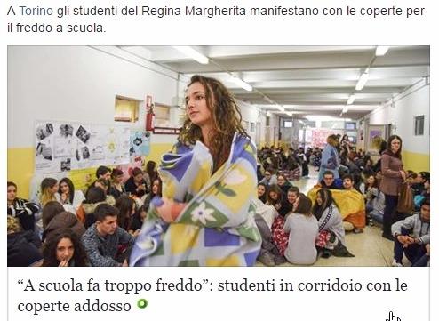 В Италии замерзают ученики в школе Турин Пьемонт