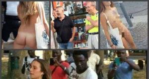 Голая итальянка вызвала шок у прохожих на улицах Болоньи