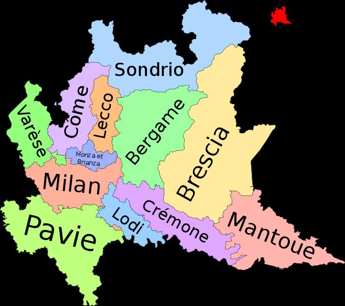 Север Италия карта городов