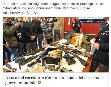 В Турине найден арсенал с оружием