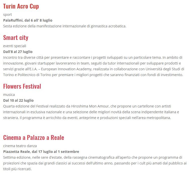 Другие события в июле Турин Италия