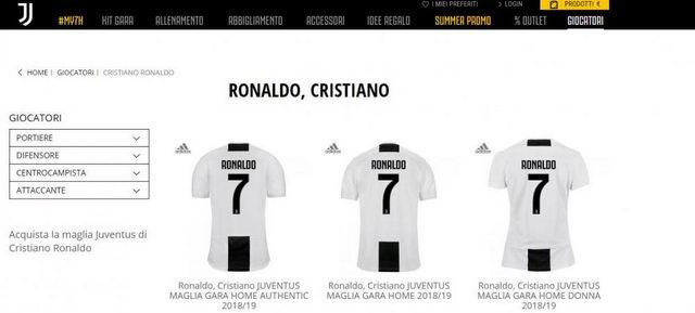 В Турине распроданы все футболки номер 7 Рональдо