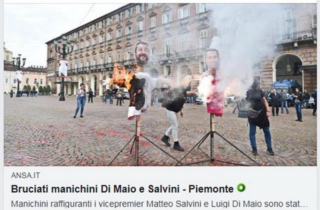 В Турине на главной площади были сожжены манекены Ди Майо и Сальвини Турин в октябре 2018 года