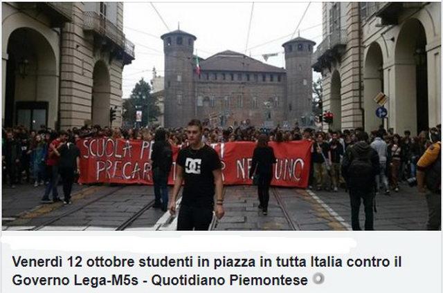 Студенты против Лега и Движения 5 звезд Турин протест студентов Турин в октябре 2018 года