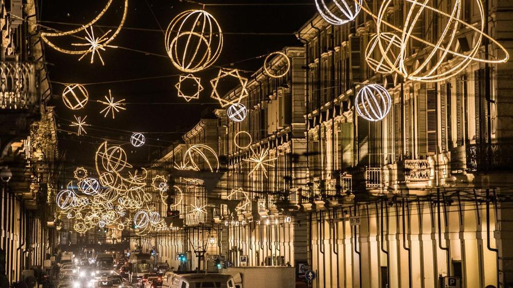 Рождество в Турине художественные огни