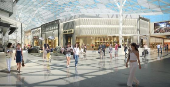 Проект нового торгового центра в Турине Многофункциональный торговый центр в Турине Остановка поезда и парковка