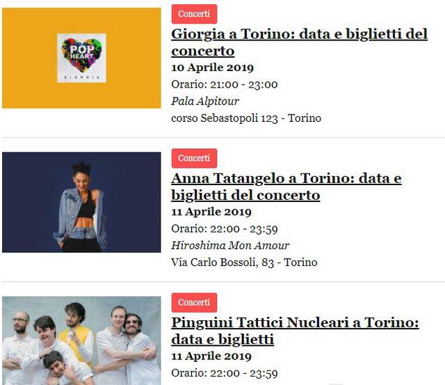 Другие концерты в апреле в Турине
