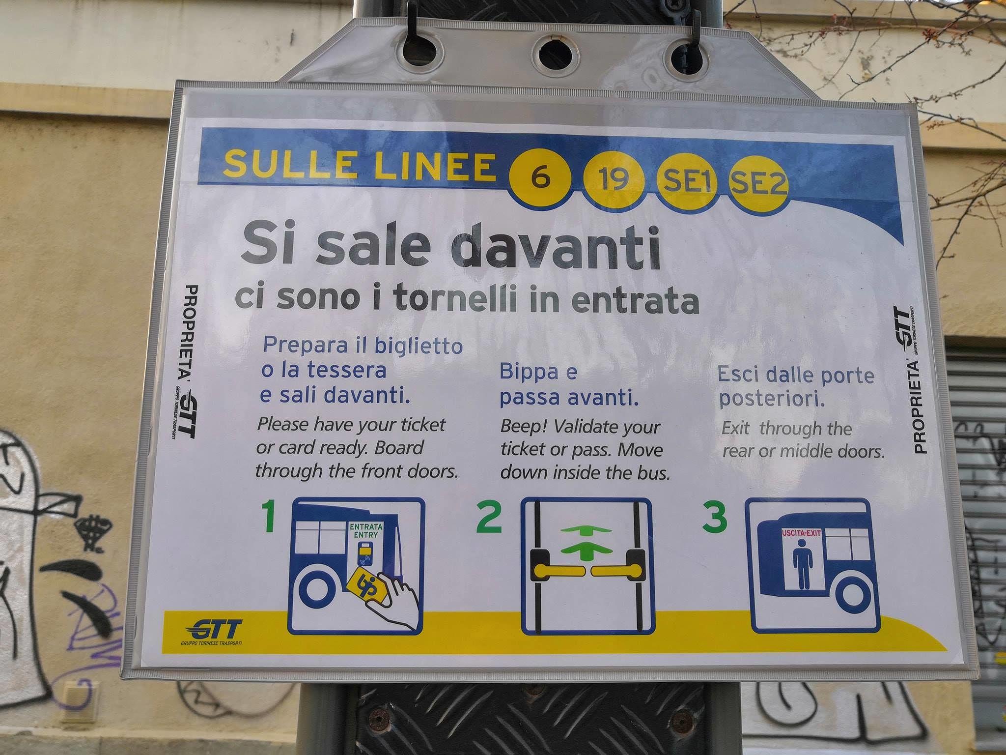 турникеты на автобусах линии 19, соединяющих станцию Порта Суза с Корсо Кадоре
