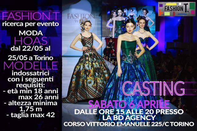 Fashion T Casting Models Hoas События Турина апрель 2019 года