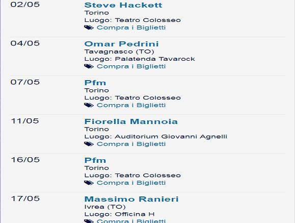Концерты в Турине в мае 2019