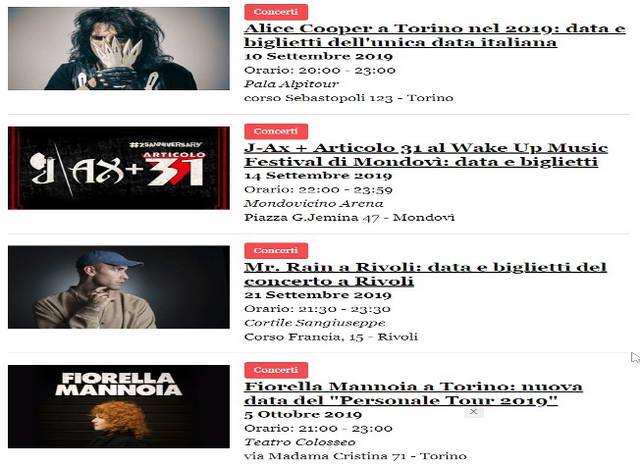 Концерты в Турине запланированные на сентябрь2019