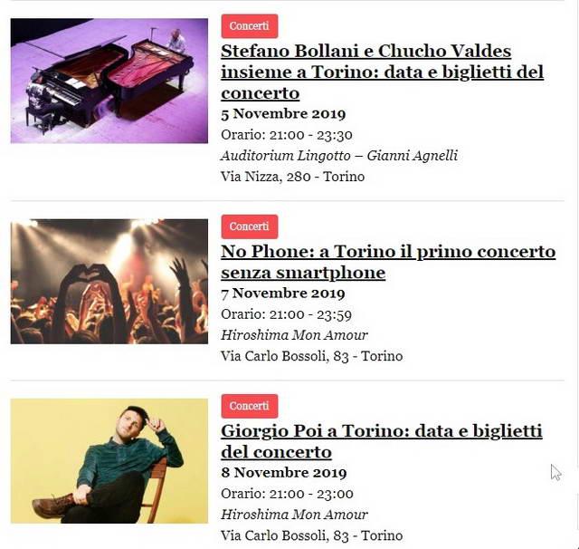 Концерты в Турине в ноябре 2019