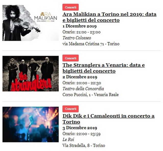 Концерты в Турине в декабре 2019