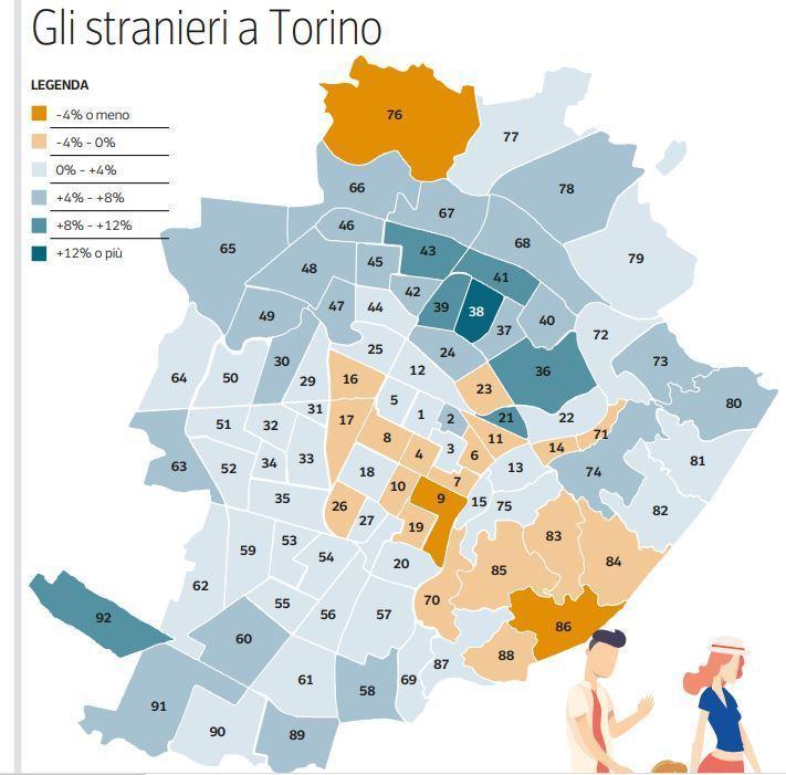 Карта Турина на которой видно где больше проживают иностранцы