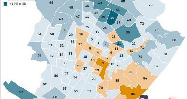 Карта Турина и проживающие в нем иностранцы